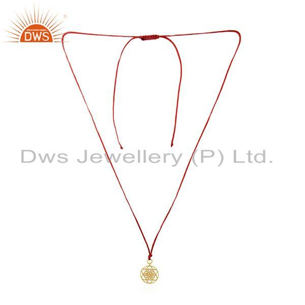 Gold plated sterling 925 silver simple macrame pendant wholesaler