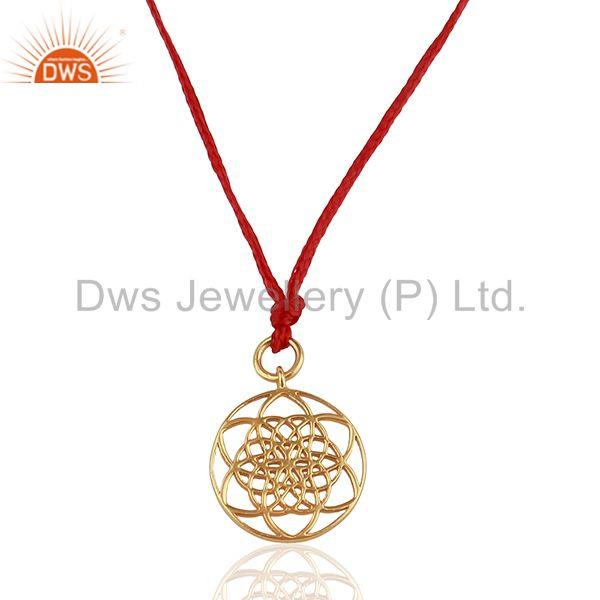 Flower Of Life 925 Sterling Silver Rose Gold Plated Red Silk thread Pendant