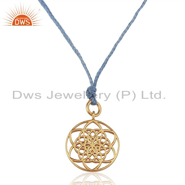 Flower Of Life 925 Sterling Silver Rose Gold Plated Sky Blue Silk thread Pendant