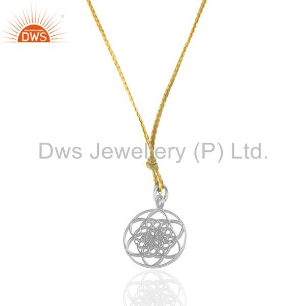 92.5 Sterling Fine Silver Lucky Charm Yellow Macrame Cord Pendant