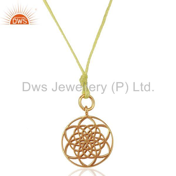 Flower Of Life 925 Sterling Silver Rose Gold Plated Yellow Silk thread Pendant