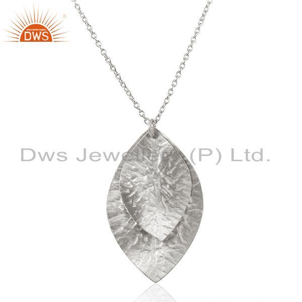 925 Sterling Fine Silver Leaf Design Girls Chain Pendnat Manufacturer