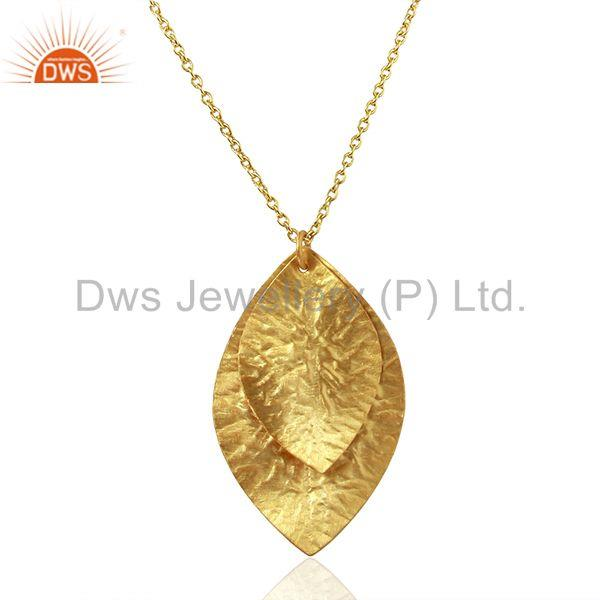 Leaf Design Gold Plated Plain Silver Chain Pendnat Jewelry Manufacture