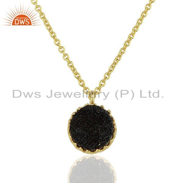 Black Druzy Gemstone Gold Plated 925 Silver Chain Pendant Wholesale