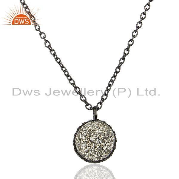Black Rhodium Plated 925 Silver Silver Druzy Gemstone Pendant Supplier