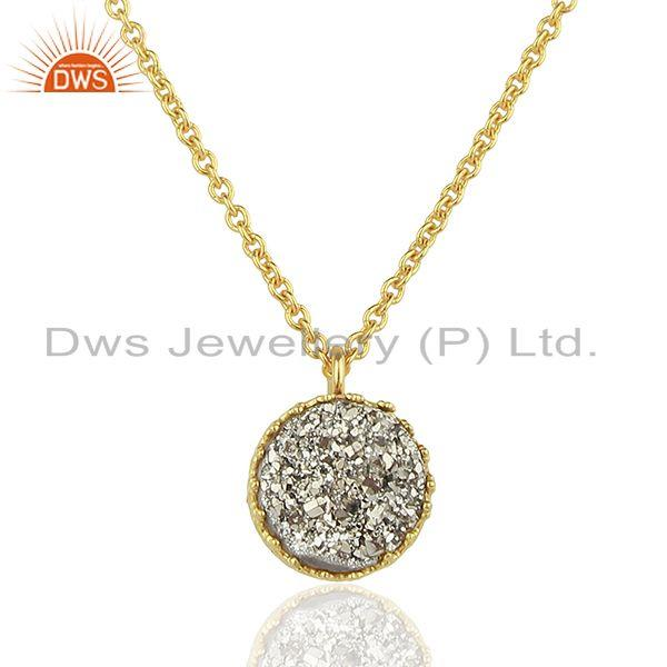 Silver Druzy Gemstone Gold Plated 925 Silver Round Pendant Supplier