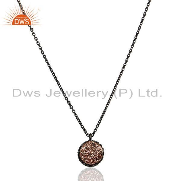 Copper Druzy Gemstone Black Sterling Silver Chain Pendant Manufacturer
