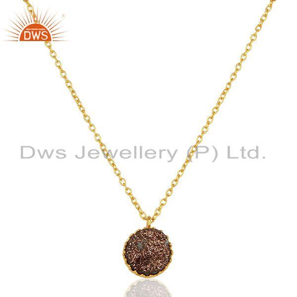Copper Druzy Gemstone Gold Plated Sterling Silver Pendant Manufacturer