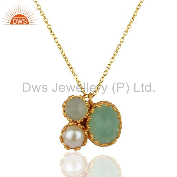 Pearl and Aqua Chalcedony Gemstone Gold Plated Silver Pendnat Jewelry