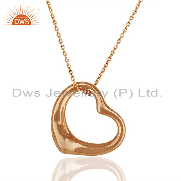 Open Heart 925 Sterling Silver Rose Gold Plated Pendants