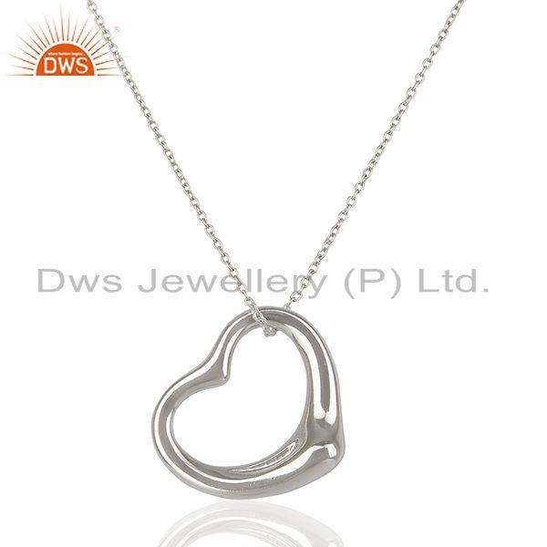 925 Sterling Silver Heart Pendant Chain Necklace For Girls