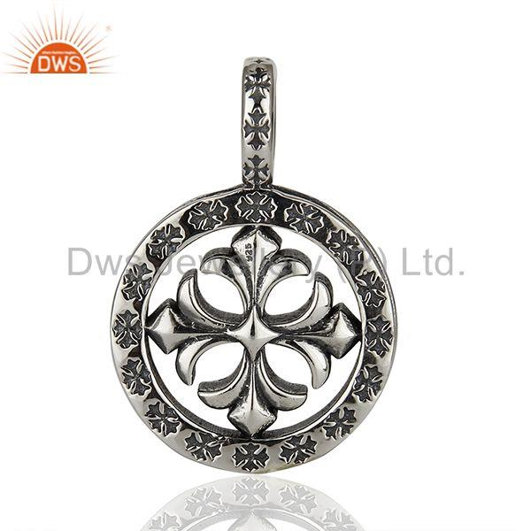 Ch Plus Medallion 925 Sterling Silver Oxodized Pendant Wholesale Jewelry