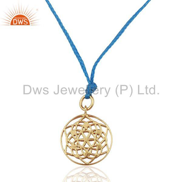 Flower of Life 92.5 Sterling Silver Rose Gold Plated Blue Silk thread Pendant