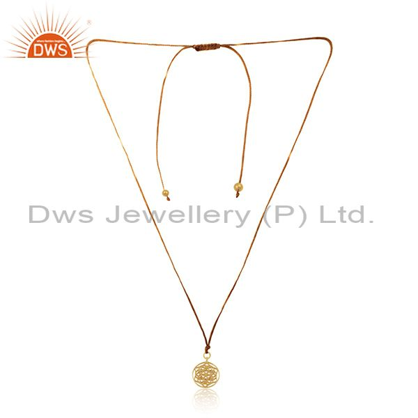 Yellow Gold Plated 925 Sterling Silver Macrame Pendant Manufacturer