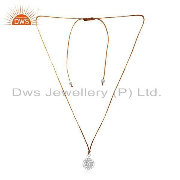 Brown cord fine sterling plain silver pendant jewelry manufacturer