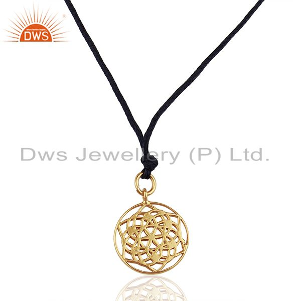 Flower of Life 925 Sterling Silver Dark Blue Silk thread Pendant And Necklace