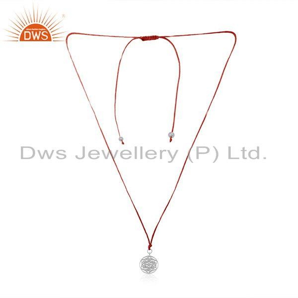 Dark Red Macrame Fine Sterling Silver Pendant Manufacturer in Jaipur