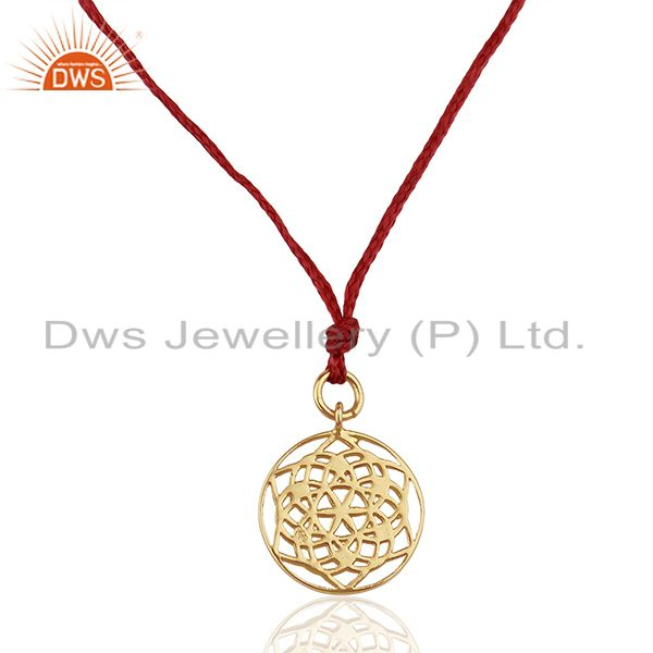 Flower of life 925 sterling silver dark red silk thread pendant and necklace