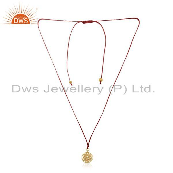 Yellow gold plated sterling silver pink macrame handmade pendant