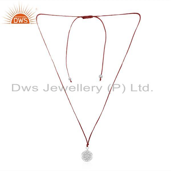 Handmade pink macrame pendant with fine sterling plain silver jewelry