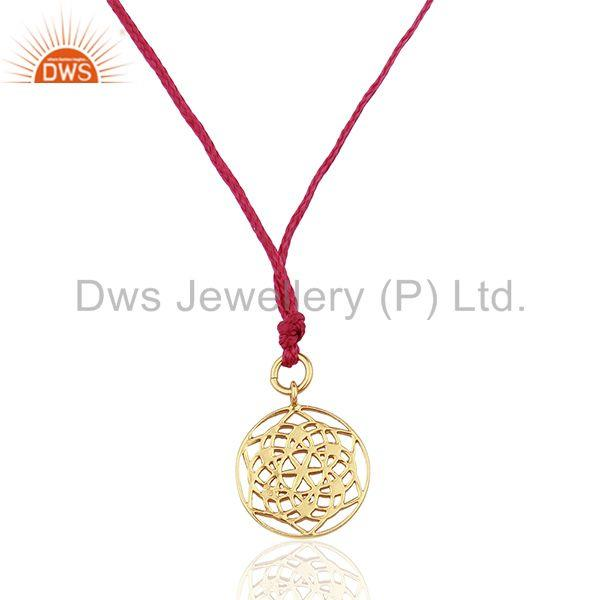 Flower of Life 925 Sterling Silver Pink Silk thread Pendant And Necklace