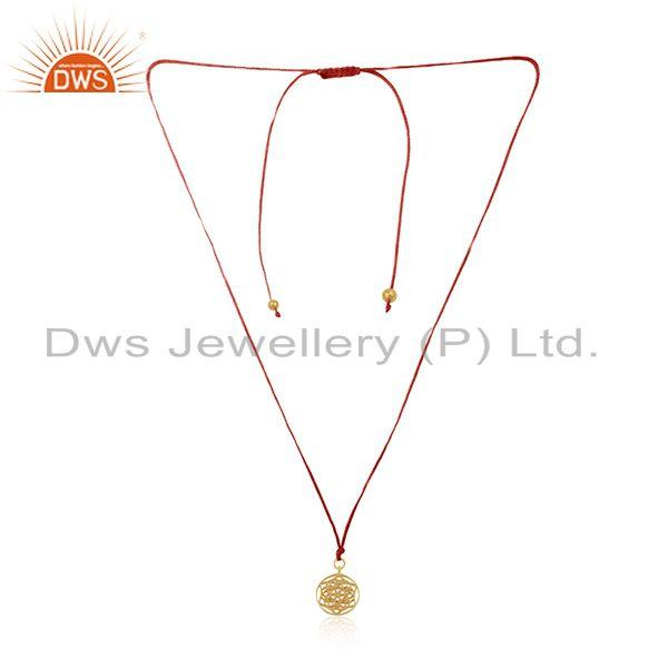 Handmade pink macrame pendant with gold plated 925 sterling silver