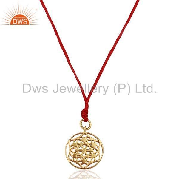 Flower of Life 925 Sterling Silver Red Silk thread Pendant And Necklace Jewelry