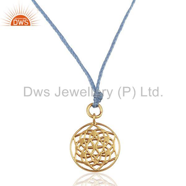 Flower of Life 925 Sterling Silver Rose Gold Plated Sky Blue Silk thread Jewelry