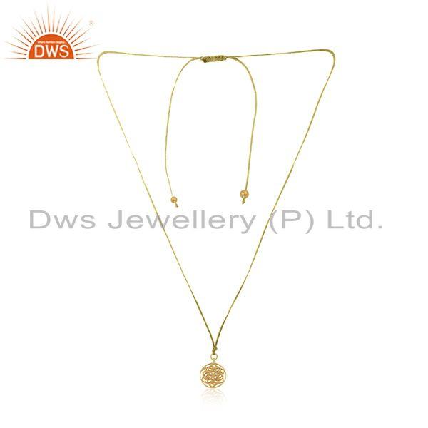 Yellow Gold Plated Sterling 925 Silver Macrame Pendant Necklace