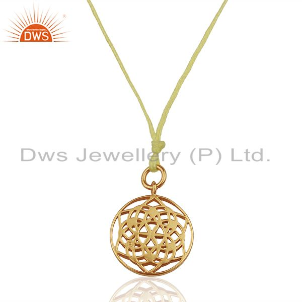 Flower of Life 925 Sterling Silver Yellow Silk thread Pendant And Necklace