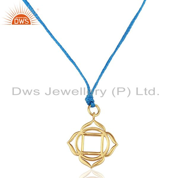 Muladhara Roots 925 Sterling Silver Rose Gold Plated Blue Silk Thread Pendant