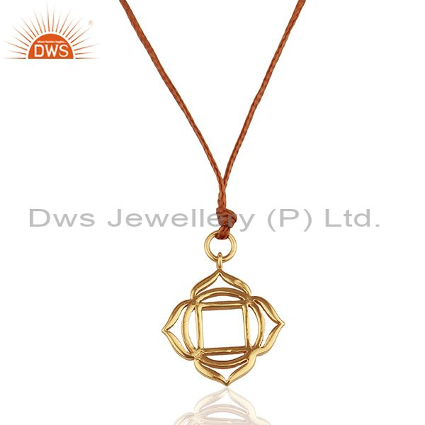 Muladhara Roots 925 Sterling Silver Rose Gold Plated Brown Silk Thread Pendant