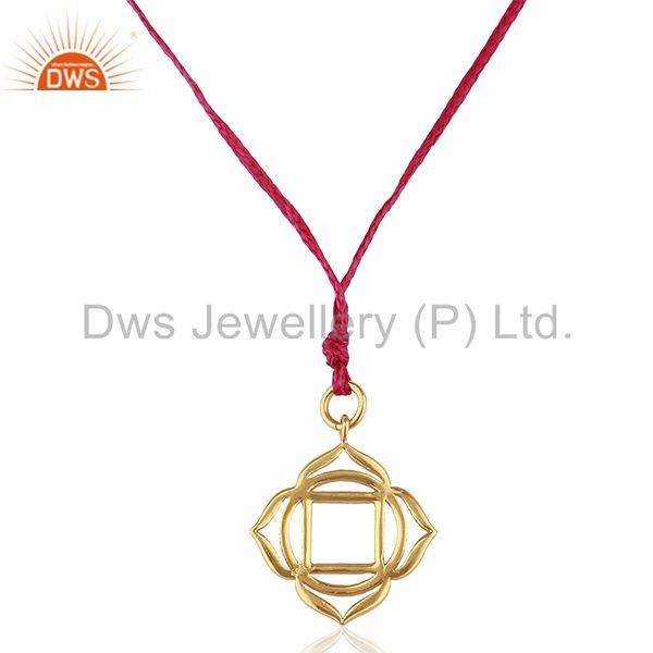 Muladhara Roots 925 Sterling Silver Pink Silk Thread Wholesale Jewelry