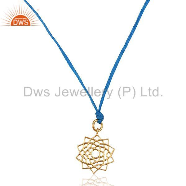 Sahasrara chakra 925 Sterling Silver Rose Gold Plated Blue Silk Thread Jewelry