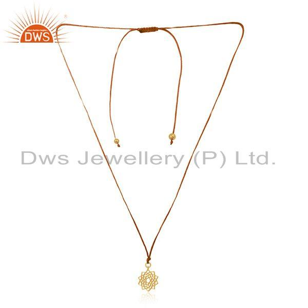 Yellow Gold Plated Sterling Plain Silver Brown Macrame Cord Pendant