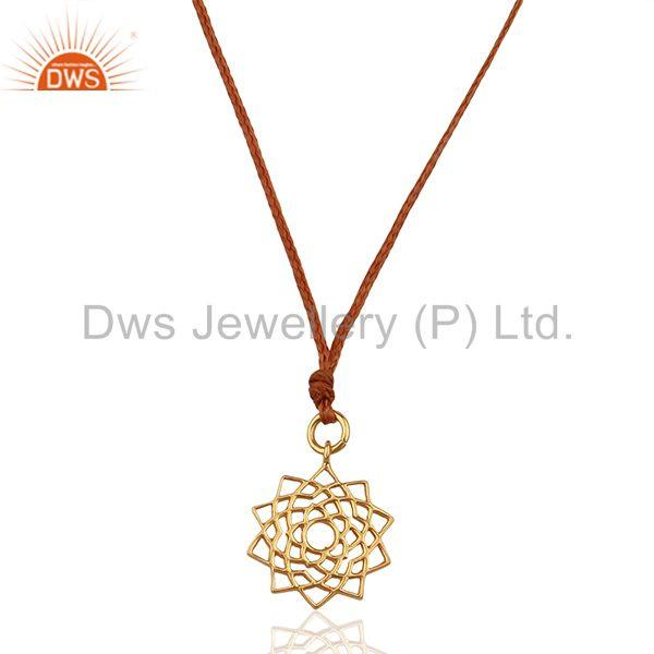 Sahasrara chakra 925 sterling silver rose gold plated brown silk thread pendant