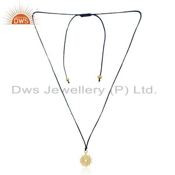 Designer Yellow Gold Plated 925 Sterling Plain Silver Pendant Supplier