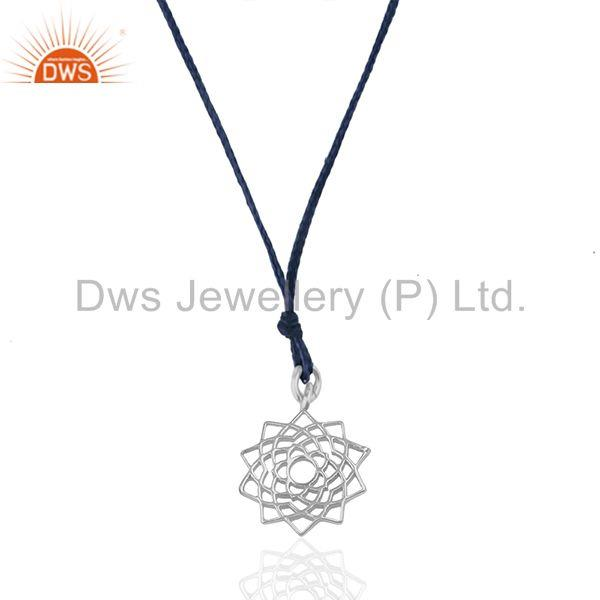 Dark blue cord white sterling silver lucky charm pendant manufacturers