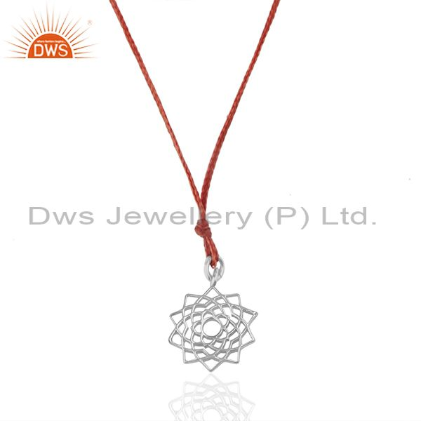 Indian Lucky Charm 925 Plain Silver Red Cord Sahasrarara chakra Pendant Wholesale