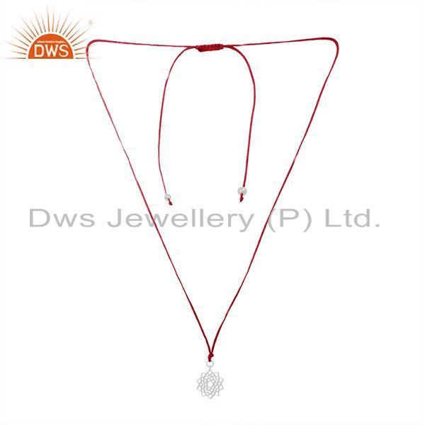 Pink Macrame Cord 925 Sterling Plain Silver Pendant Manufacturers