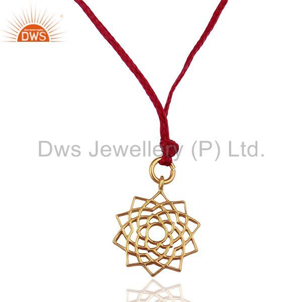 Sahasrara chakra 925 Sterling Silve Pink Silk Thread Wholesale Pendant Jewelry