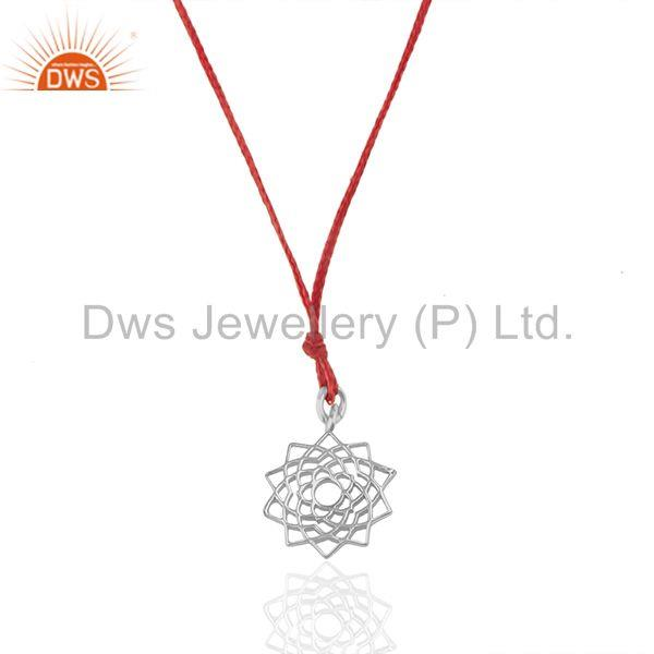 Red cord lucky plain silver charm pendant jewelry manufacturers