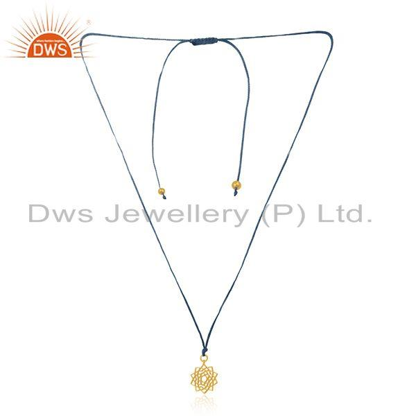 Sky blue macrame cord gold plated 925 silver pendant manufacturer