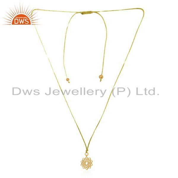 Yellow Gold Plated 92.5 Sterling Plain Silver Macrame Pendant Supplier