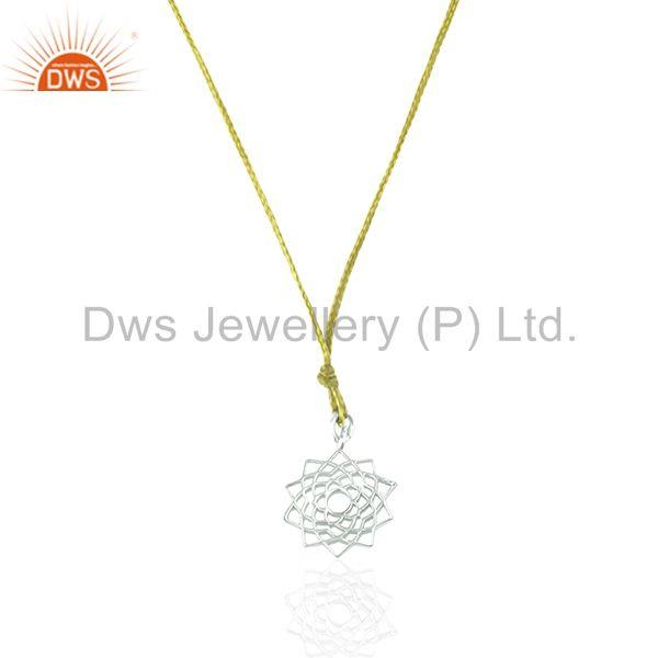 White sterling plain silver yellow macrame pendant manufacturers
