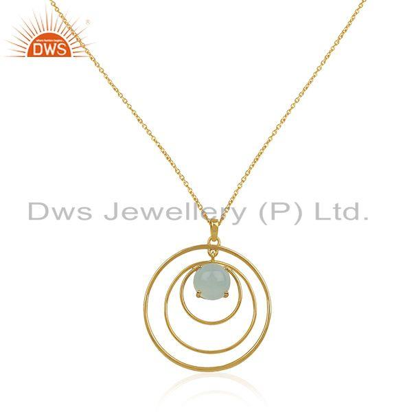 Aqua Chalcedony Gemstone 925 Sterling Silver Gold Plated Chain Pendant Wholesale