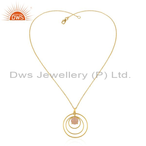 Rose Chalcedony Gemstone Gold Plated 925 Silver Circle Chain Pendant