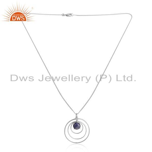 Disc Design White Rhodium Plated 925 Silver Tanzanite Necklaces