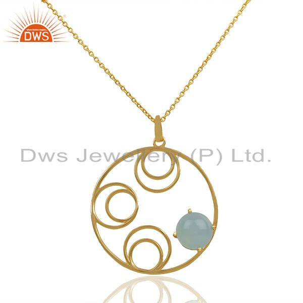 Round Design Gold Plated 925 Silver Chalcedony Gemstone Pendant