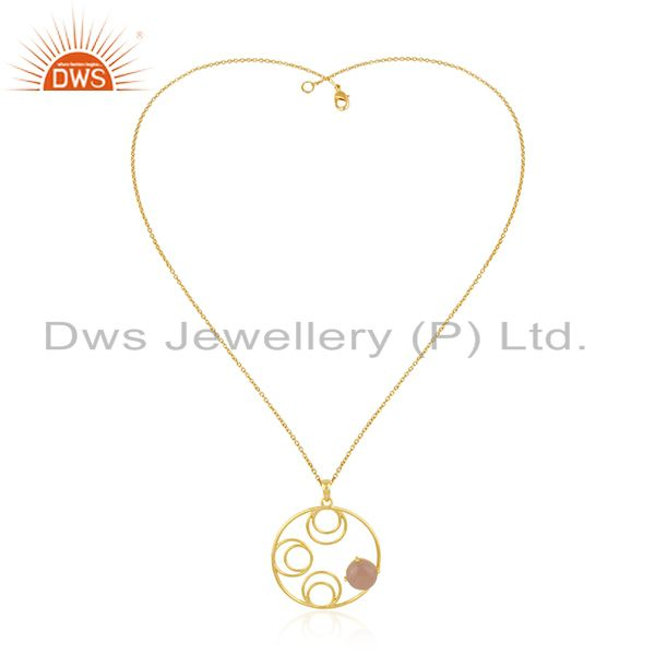 Rose chalcedony gemstone 925 silver gold plated chain pendant wholesale